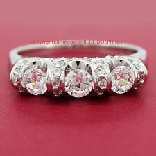Genuine Solid 9ct White Gold Engagement Wedding Trilogy Ring Simulated Diamonds