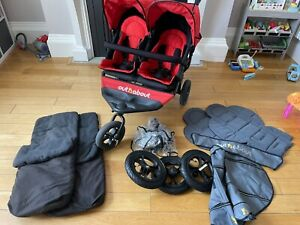 Out n About Nipper 360 Double V4 Pushchair - Steel Grey and Red Colour Pack!