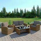 Gsd Rattan Garden Furniture 4 Piece Patio Set Table Chairs Light Brown/brown Und