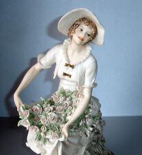 "Giuseppe Armani ROSE HARVEST Figurine 311F 13""Tall Lady with Pink Roses"