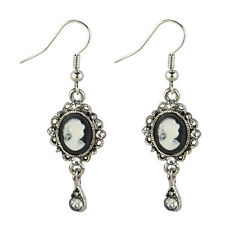 Funky Vintage Retro Cameo Drop Dangle Earrings - Black White Joe Cool New