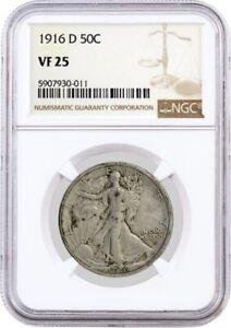 1916 D 50C Walking Liberty Silver Half Dollar NGC VF25 Circulated Key Date Coin