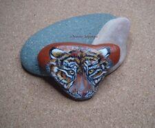 Tiger Original Acrylic Painting on Scottish Pebble by Artist Y.Johnstone