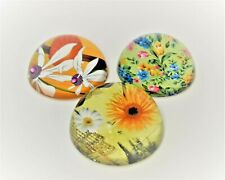 Set of 3 Glass Paper Weight. Floral Design Round Dome Shape. Free Shipping