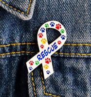 Cat Pin Badge Brooch Gift Dog Paw Rescue Animal Lover Awareness Ribbon Pet White