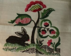 BUNNY AND FLOWERS completed crewel stitchery panel PARAGON NEEDLECRAFT