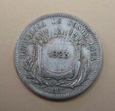 1923 Costa Rica 50 Centimos Counterstamp on 1887 25 Centavos Silver Coin KM#158