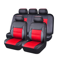 CAR PASS 11PCS Red Color Sandwich Leather Car Seat Covers for 40/60 60/40 50/50