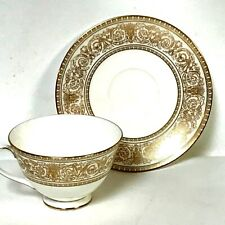 Elegant Royal Doulton Sovereign Pattern Gold Decorated Tea Cup & Saucer