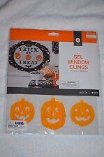 New ! Happy Halloween Gel Window Clings NIP Trick or Treat & Pumpkins