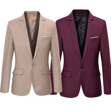 HK- Men Formal Business Suit One Button Lapel Long Sleeve Pockets Top Utility