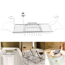 Stainless Steel Bath Caddy Wine Glass Holder Tray Over Bathtub Rack Support