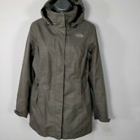 WOMENS THE NORTH FACE GREY HYVENT HOODED LIGHT WEIGHT RAIN COAT JACKET S SMALL