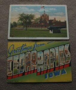 Cedar Rapids Iowa IA Postcards Large Letter Union RR Station Train Depot Cannon