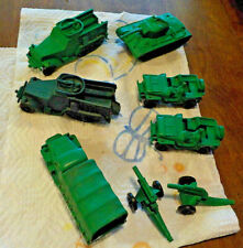 Vintage Lot of 8 Auburn Military Vechicles Green Tank Armoured Truck Jeeps w gun