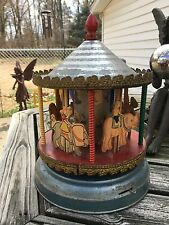 Vintage Antique Toy Carousel Carosel AMAZING RARE NEAR PERFECT Horses MUSIC