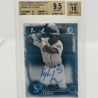 2016 Bowman Chrome Kyle Lewis 1st Bowman Auto - BGS 9.5/10 GEM MINT! ROY RC
