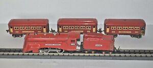 LIONEL PREWAR O/027 RED COMET SET 265E & 261T L&T AND 3 COACHES 603, 603 & 604