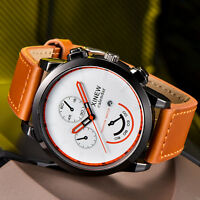 Vintage Classic Mens Waterproof Date Leather Strap Sport Quartz Army Watch