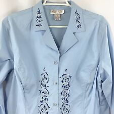 Kathy Levine by Request Blue Shirt Womens Size 1X Embroidered Long Sleeve