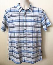 Patagonia Organic Cotton AC Shirt Mens S Blue Plaid Short Sleeve Crinkled NWOT