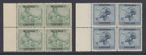 Ruanda Urundi Sc 28, 32 MNH. 1927-29 issues, Matched Sheet Margin Blocks of 4