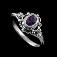 Exquisite Women 925 Silver Amethyst Ruby Anniversary Wedding Band Ring Size 6-10