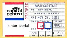 11/27/81 HOCKEY TICKET STUB-WASH CAPITALS/MONT CANADIENS