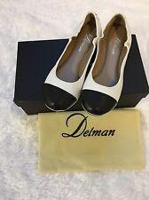 Delman Blair Cap-Toe Ballet Flat, White/Black