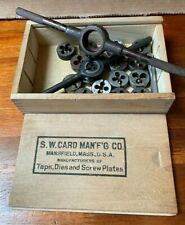 Lot Of Tap Amp Dies Amp 2 Holders From Different Makers Amp A Tongue Amp Groove Wood Box