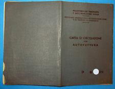 LIBRETTO DI CIRCOLAZIONE CON FOGLIO COMPLEMENTARE FIAT 500 D (110 D) 1965