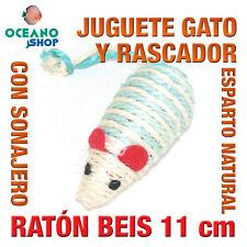 JUGUETE RASCADOR GATO RATÓN CALIDAD DE ESPARTO NATURAL SONAJERO 11 cm L143 2350