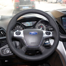 1 set Black Leather Wrap Steering Wheel Cover Stitch on For Ford Focus