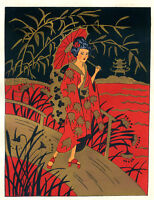 1930s French Pochoir Colored Print Geisha on Bridge Red Kimono Gilt Accents