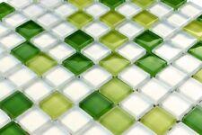 LUXUS Glasmosaikfliesen grün kiwigrün dunkelgrün weiss MIX green glänzend 8mm