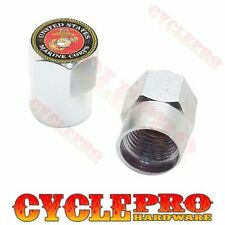 2 Silver Hex - Billet Aluminum Custom Valve Caps for Motorcycle - USMC MARINES