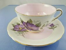 MAUVE FLOWER & PINK FOOTED TEA CUP & SAUCER SET BY ROYAL STAFFORD CHINA ENGLAND