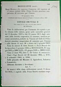 VENEZIA,REGIO DECRETO CHE APPROVA L'AUMENTO DEL CAPITALE -1502