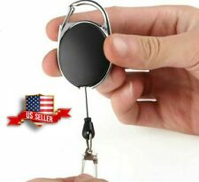 Retractable Pull Reel Id Badge Holder Zinc Alloy Clip Name Lanyard Tag Black Lot