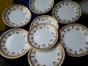Rare Vintage Porcelain Tea Plates X 8 white with gold and pink flower 3650