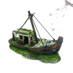 Aquarium Fish Tank Pirate Ship Wreck Ship Vintage Resin Design  Decorations Land