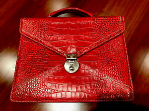 Lancel Briefcase, red leather, used 2 times