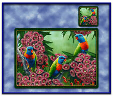 6 PCS Rainbow Lorikeet Bird Dining Table Placemats Vinyl + Coasters Decor-TM004