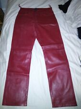 DKNY Men's Leather Pants Red