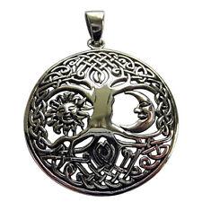 Plata Esterlina (925) Árbol de la vida en el sol y la Luna Colgante!!!!!! nuevo!!!!!!