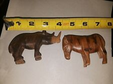 "Two ""4"" Handcrafted Single Log Rosewood Wooden Carved Hippo&Zebra Vintage"