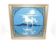 Vintage Beautiful Framed Crewel Embroidery White Unicorn Moon & Reflections