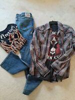 Men's Affliction Clothing Lot Sz Medium Shirts Jeans.