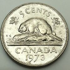1973 Canadian 5 Five Cents Nickel Canada Uncirculated Coin Not In Case C719