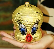 Kathrine Baumann TWEETY BIRD swarovski crystal clutch minaudiere purse bag